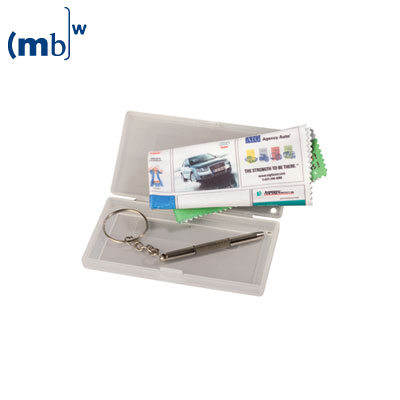 single packing for micorfibre cloth, hard plastic case with screw driver