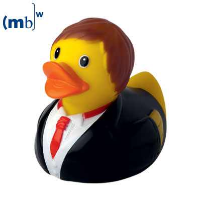 Smart suit and tie squeaking duck