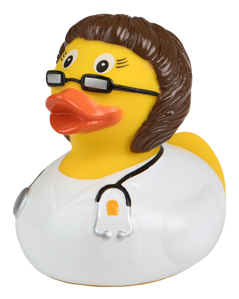 squeaky duck doctor, brunette woman