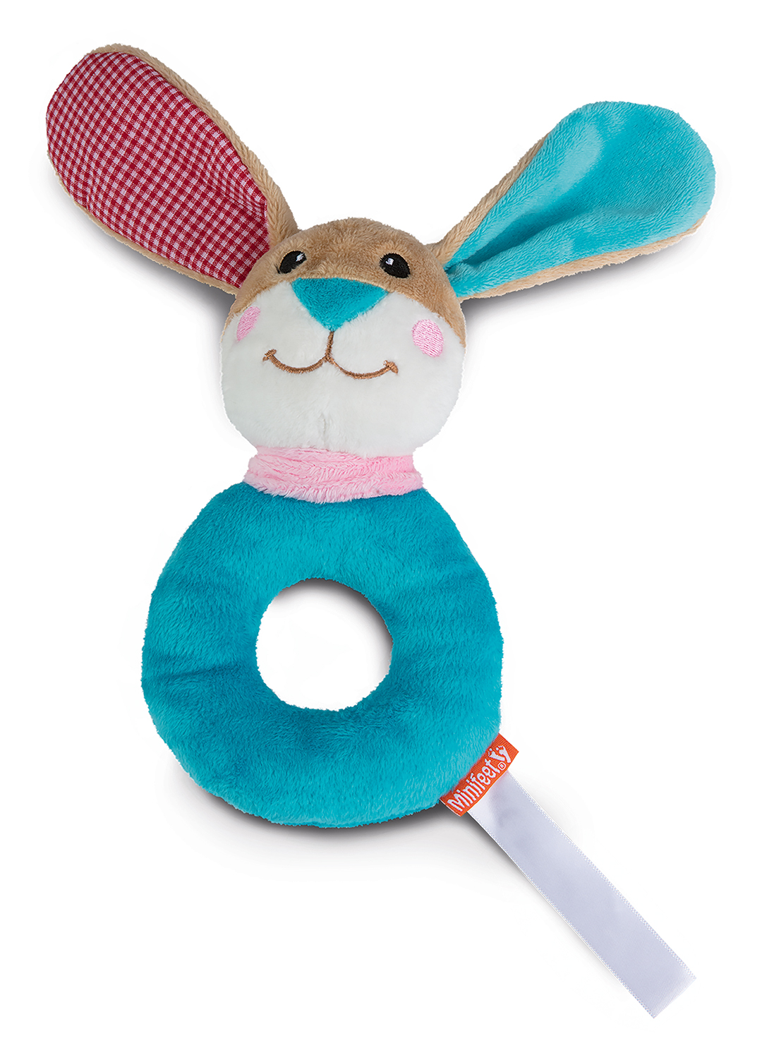 grasp toy rabbit with rattle, round