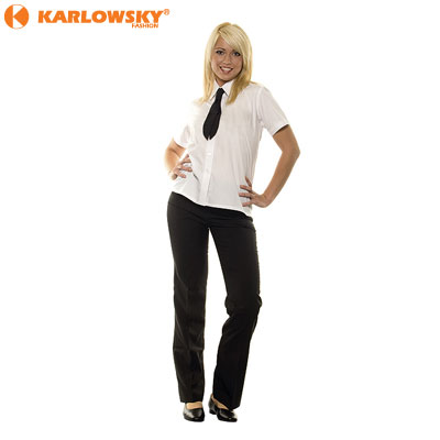 Ladies short sleeve blouse - Basic - white