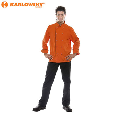 Chef jacket - Daniel - orange with black piping